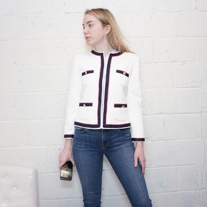 Zara white pink and navy blazer size large